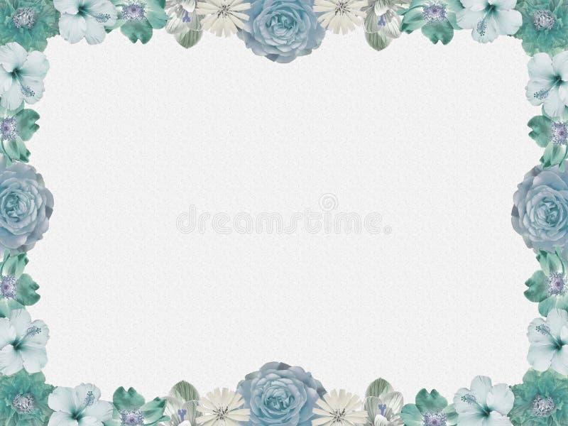 Vintage blue flower frame, sparkled background vector illustration