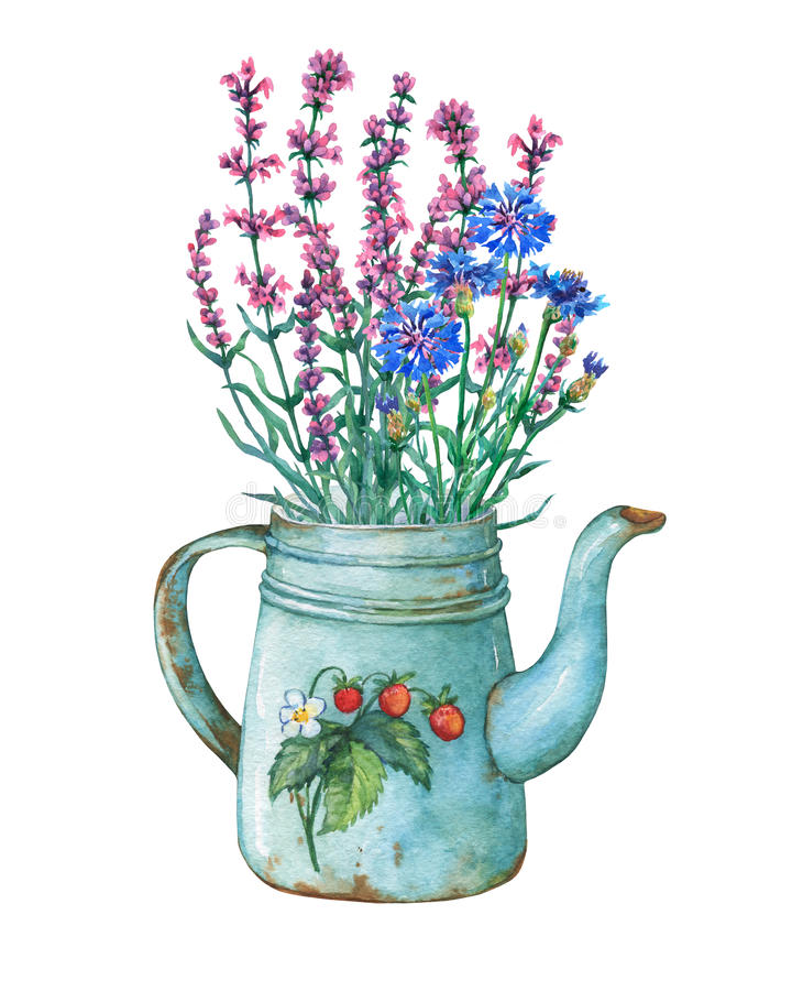 Vintage blue metal teapot with strawberries pattern and bouquet of wild flowers. Hand drawn watercolor painting on white background vector illustration