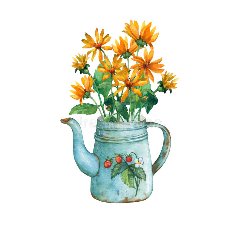 Vintage blue metal teapot with strawberries pattern and bouquet of yellow flowers. royalty free illustration