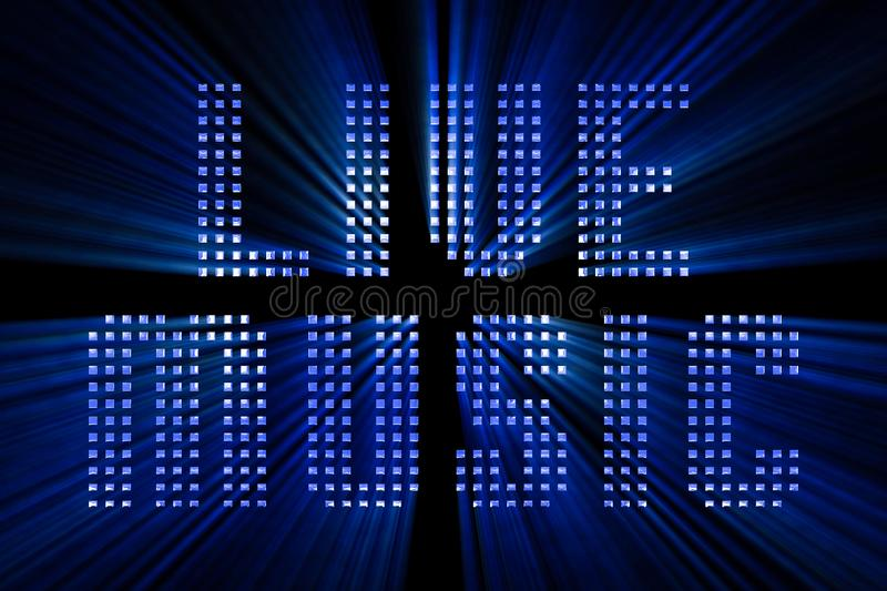 Vintage blue metallic live music word text with light reflex and. Blue rays effect on black background, concept of luxury music disco pop concert entertainment vector illustration