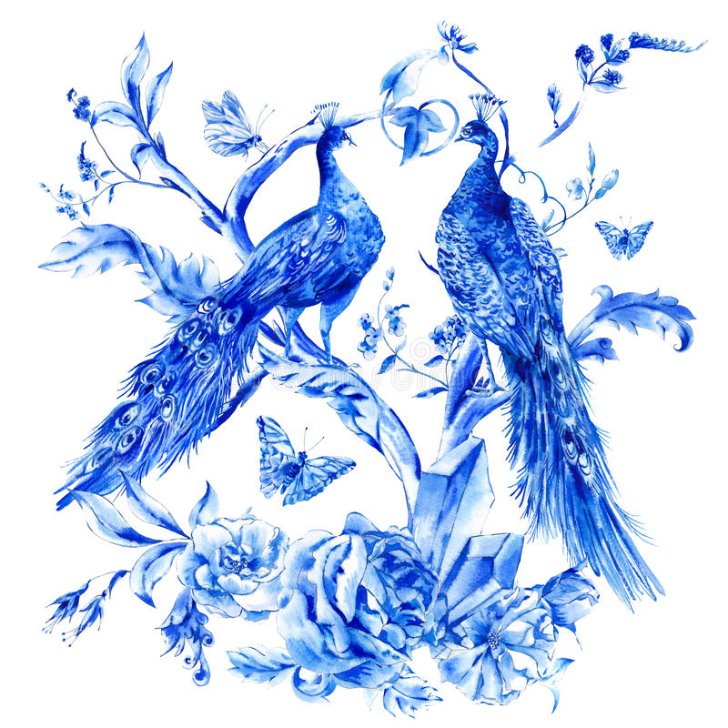 Vintage blue pair of peacocks with watercolor roses royalty free stock photo