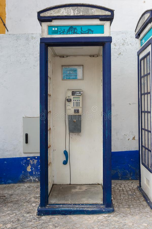 Vintage Blue Phone Call Box in Portugal royalty free stock photo