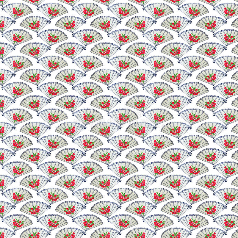 Vintage Blue and Red Fan Background repeat wallpaper. Art deco style royalty free stock photos