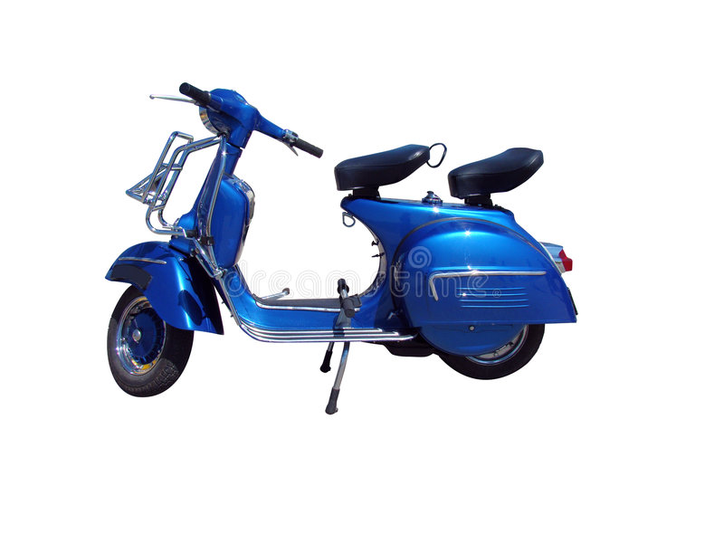 Vintage blue scooter (path included) royalty free stock photography