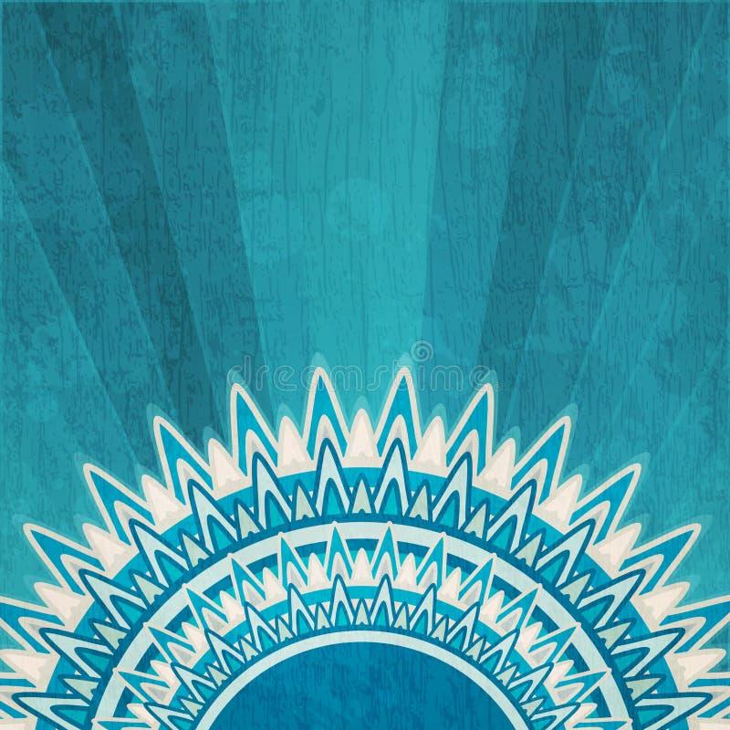 Vintage blue sun background with grunge effect vector illustration