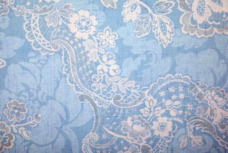 Vintage blue wallpaper. With vignette victorian pattern stock image