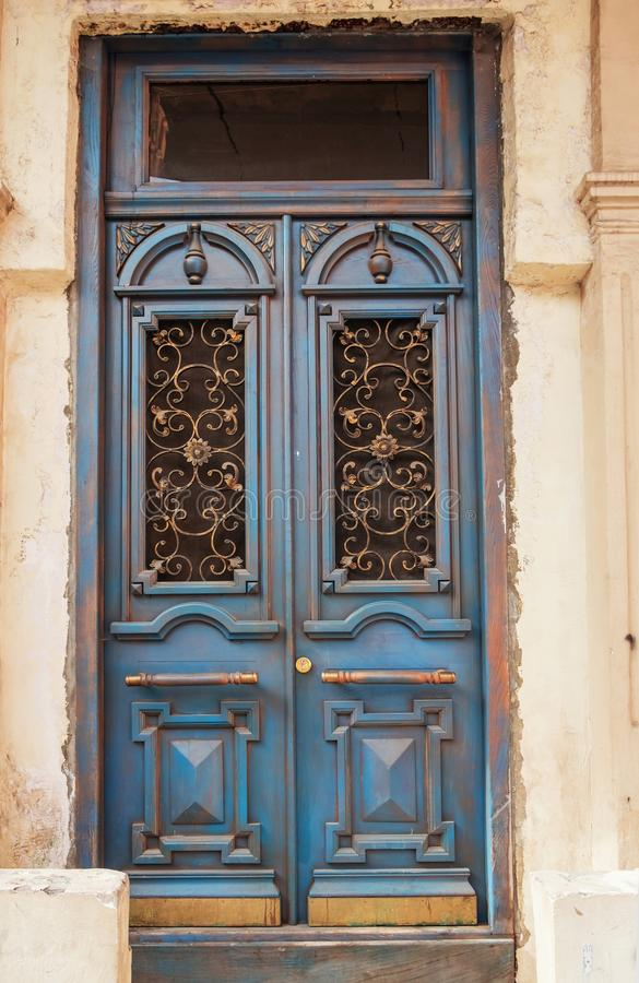 Vintage blue wooden door royalty free stock image