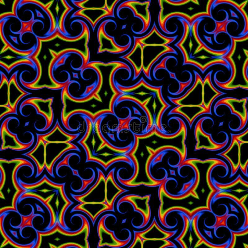 Vintage blue yellow oriental kaleidoscope background royalty free illustration