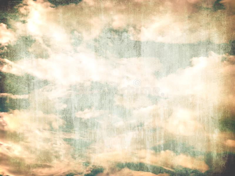 Vintage blue yellow sky landscape with grunge background, retro green old photo cloudy air wallpaper. stock photography