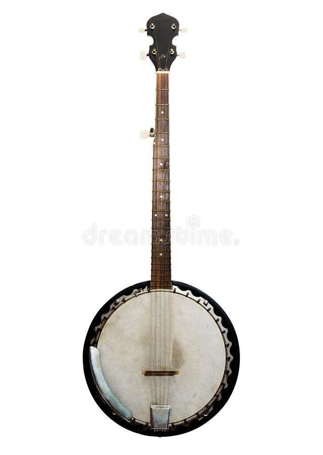 Vintage bluegrass banjo isolated on white background. Vintage bluegrass banjo has 5 string which is use in bluegrass and country music royalty free stock photography