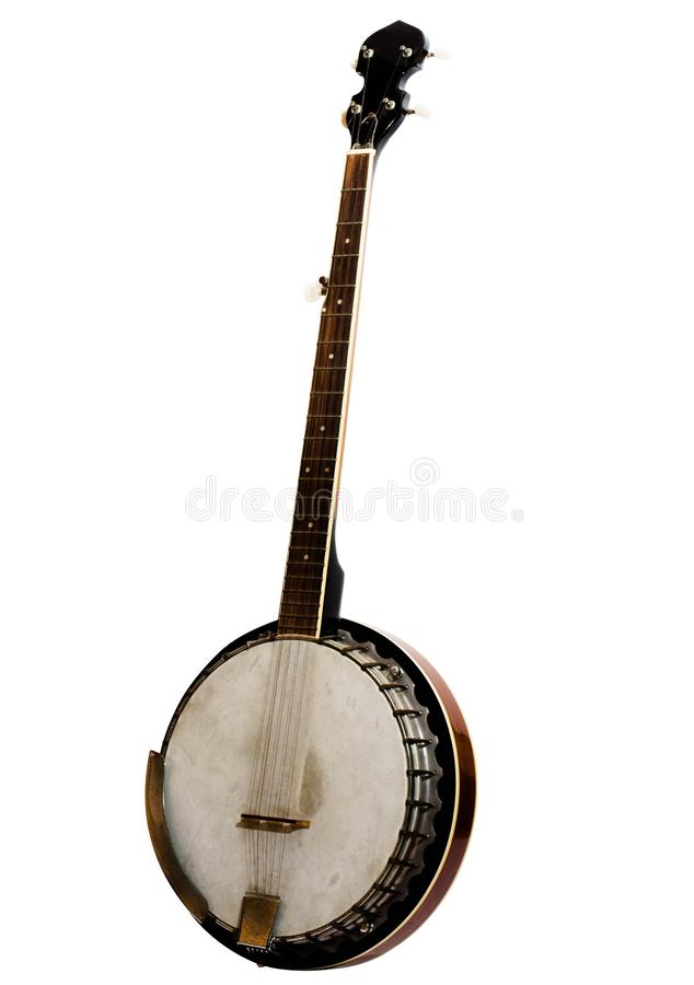 Vintage bluegrass banjo isolated on white background. Vintage bluegrass banjo has 5 string which is use in bluegrass and country music stock photos