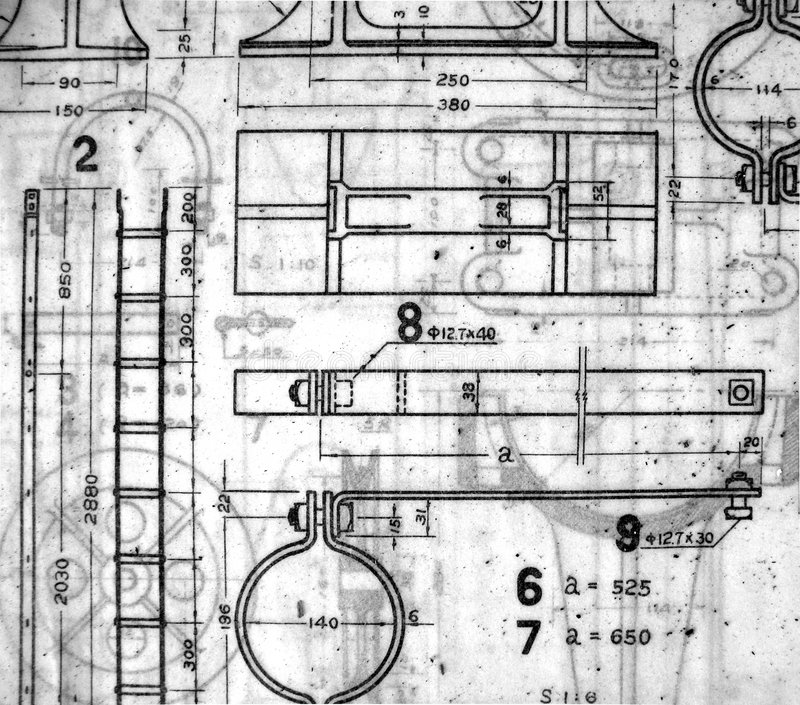 Vintage Blueprints stock image. Image of transparent, blueprint ...