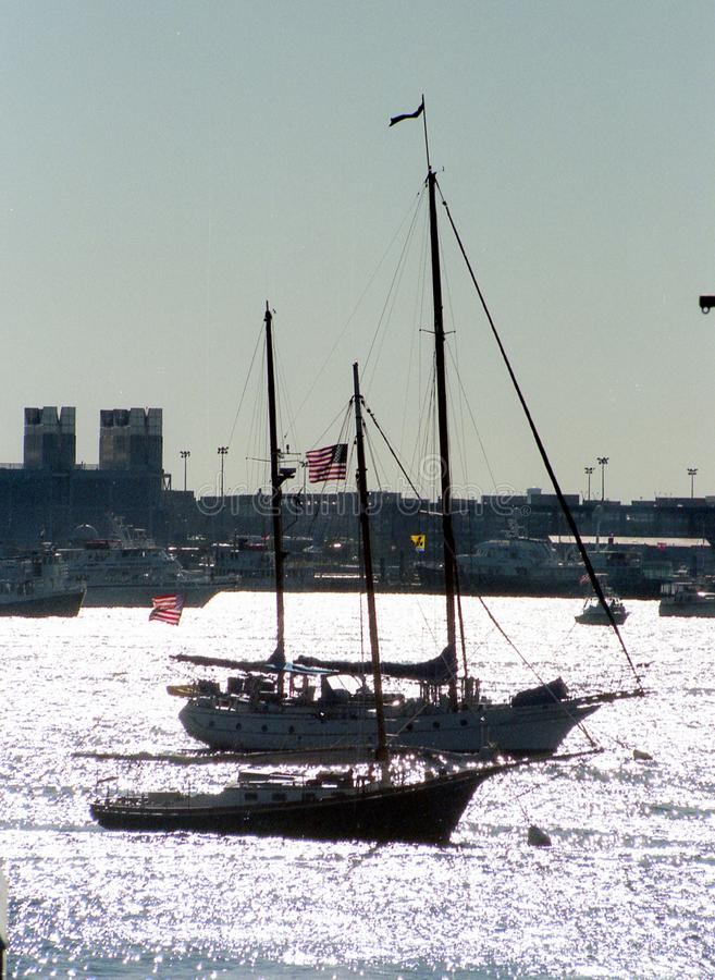 Vintage Boats in Boston Harbor stock images