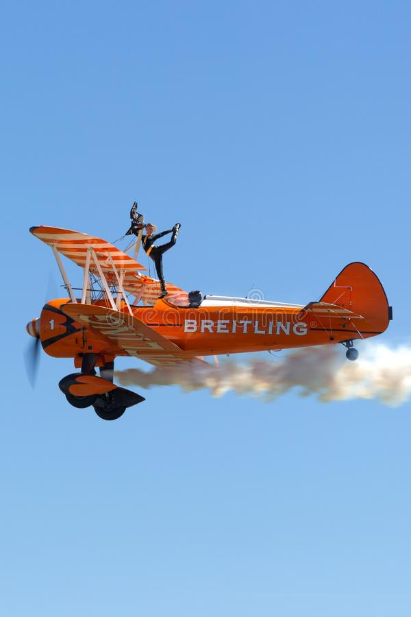 Vintage Boeing Stearman biplane of the Breitling Wing Walkers. Avalon, Australia - March 3, 2013: Vintage Boeing Stearman biplane of the Breitling Wing Walkers royalty free stock photo