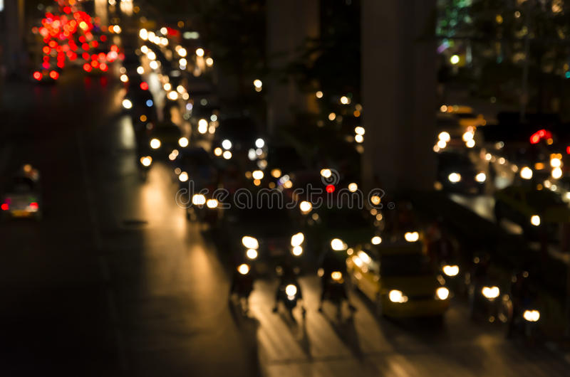 Vintage bokeh of Evening traffic jam on road in city royalty free stock images