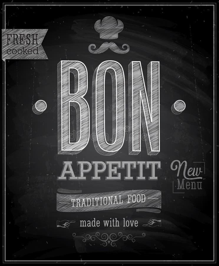Vintage Bon Appetit Poster - pizarra. ilustración del vector