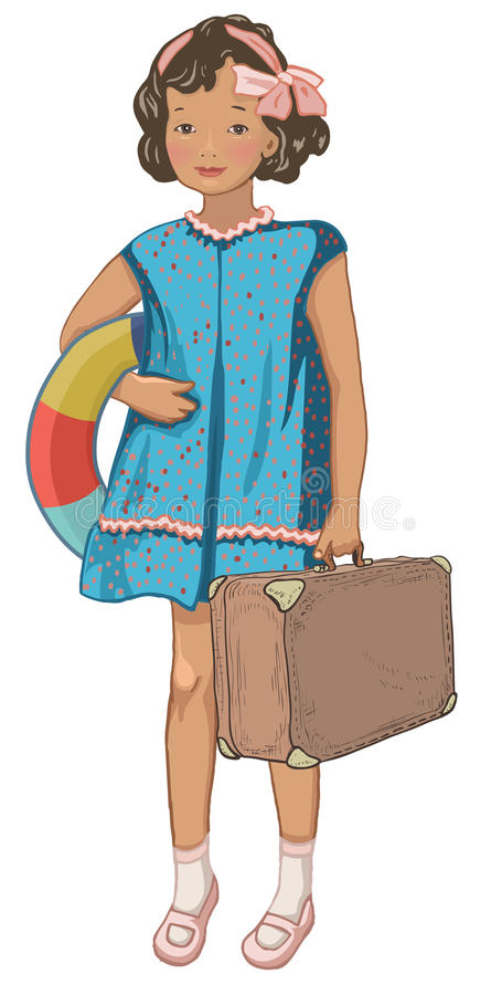 Vintage bon voyage card. Vintage little girl holding inflatable ring and suitcase. Retro style character. Holidays, voyage concept vector illustration