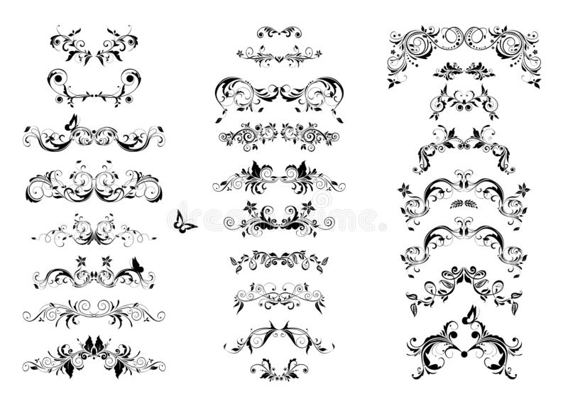 Vintage book floral separators and titles collection. Baroque black and white design elements stock illustration