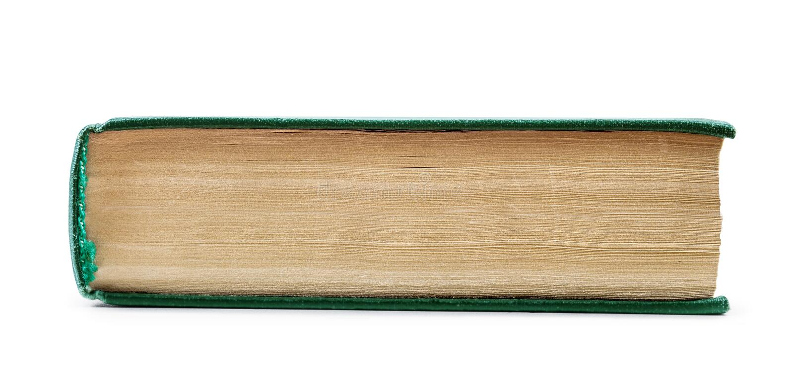 vintage book in a green shell from the perspective of the side stock