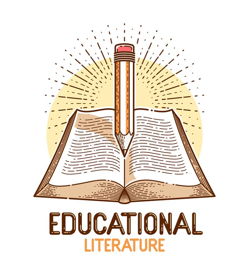 Vintage book and pencil education or science knowledge concept, educational or scientific literature library vector logo. Or emblem royalty free illustration