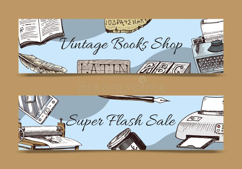 Vintage book shop set of banners vector illustration.Old books with ink quill feather pen and inkwell. Antique writing. Stationery and open book manuscript stock illustration