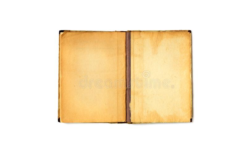 Vintage book spread with empty pages on white background. Open blank notebook with aged textured paper sheets macro view stock images
