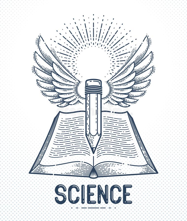 Vintage book and winged pencil education or science knowledge concept, educational or scientific literature library vector logo or. Emblem stock illustration