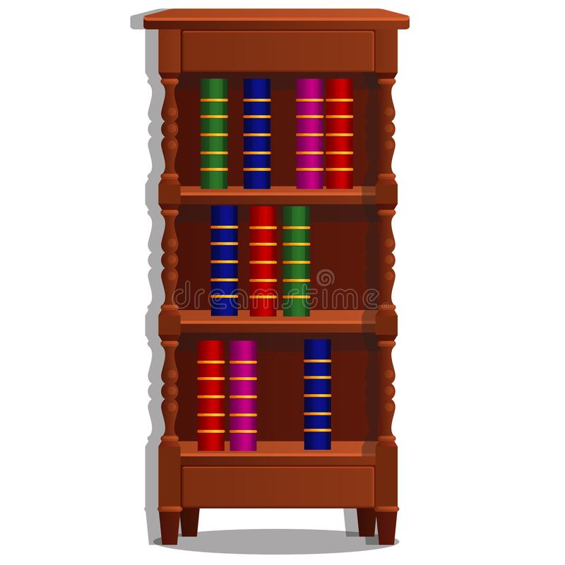 Vintage bookcase filled with books. Library furniture isolated on white background. Vector cartoon illustration close-up.  stock illustration