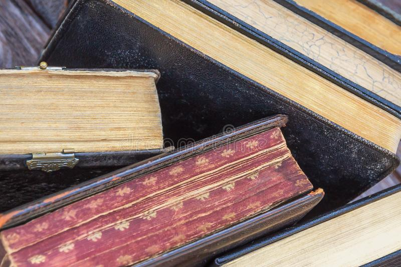 Vintage books background. A stack of colorful books. Top view stock image