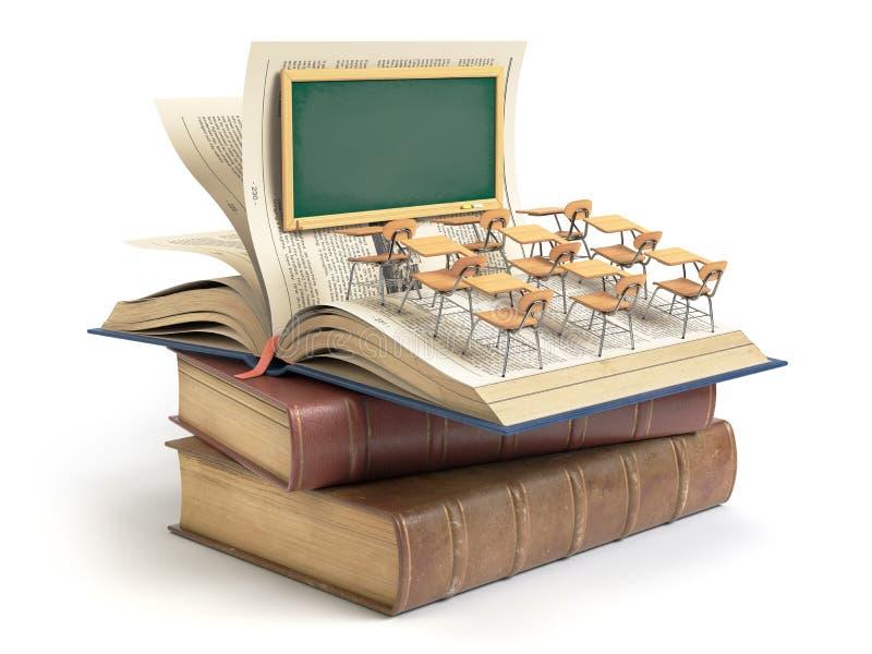 Vintage books with blackboard and school desks in the auditorium. Education concept. 3d illustration stock illustration