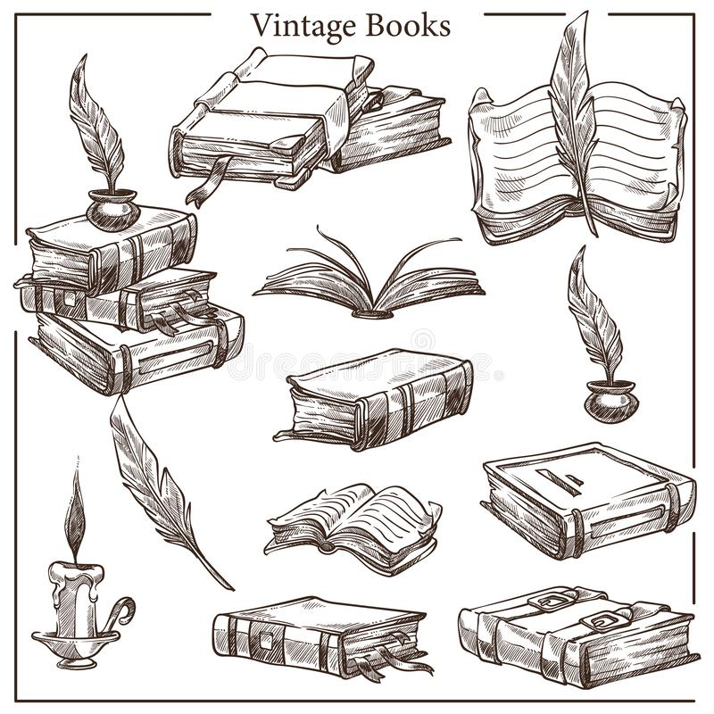 Vintage books isolated sketches feather and ink pot royalty free illustration