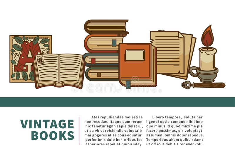 Vintage books manuscript and history textbooks volumes pile royalty free illustration
