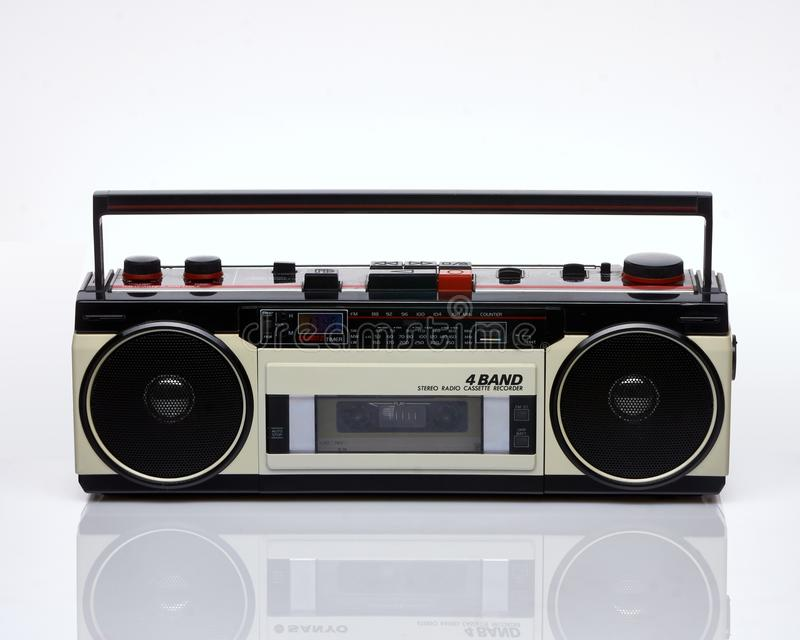 Vintage boombox on white background royalty free stock images