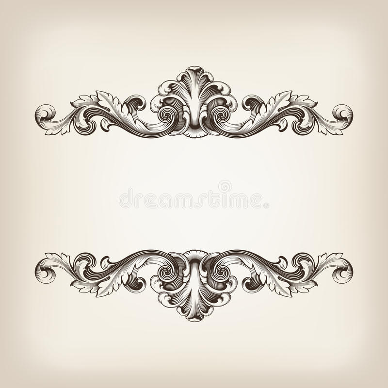 Vintage border frame calligraphy engraving baroque vector stock illustration