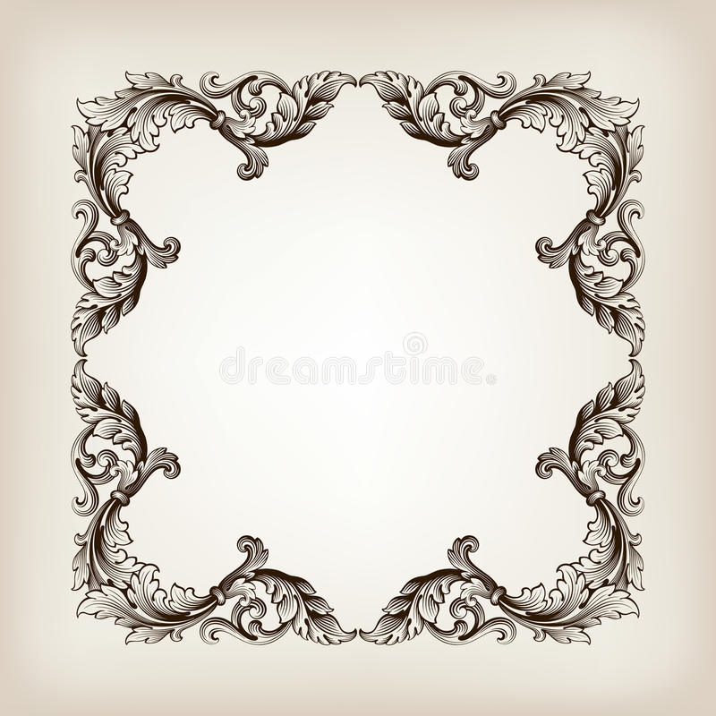 Vintage Border Frame Calligraphy Engraving Baroque Stock