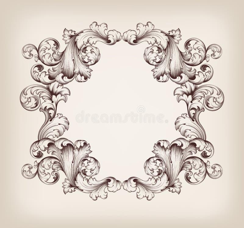 Vintage border frame engraving baroque vector. Vector vintage border frame engraving with retro ornament pattern in antique baroque style decorative design royalty free illustration
