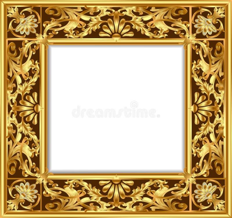 Vintage border frame engraving with retro ornament. Illustration vintage border frame engraving with retro ornament pattern in antique rococo style decorative royalty free illustration