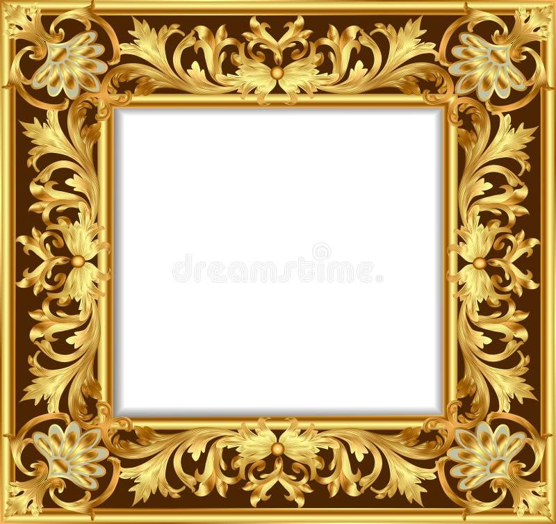 Vintage border frame engraving with retro ornament. Illustration vintage border frame engraving with retro ornament pattern in antique rococo style decorative stock illustration