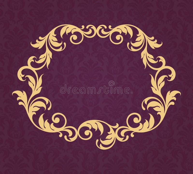 Vintage border frame gold background calligraphy vector stock illustration