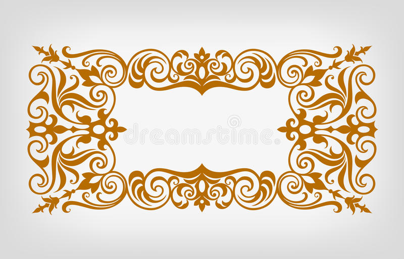 Vintage border frame ornate calligraphy vector. Vector vintage ornate border frame filigree with retro ornament pattern in antique baroque style arabic royalty free illustration