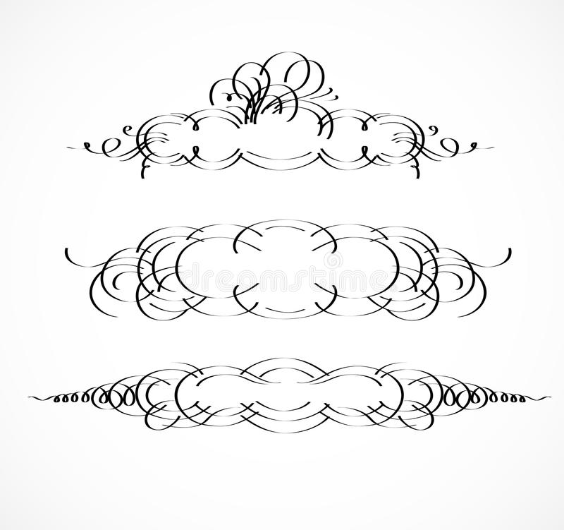 Vintage borders, frame. Wicker lines and old decor elements in vector. Vector page decoration. stock illustration