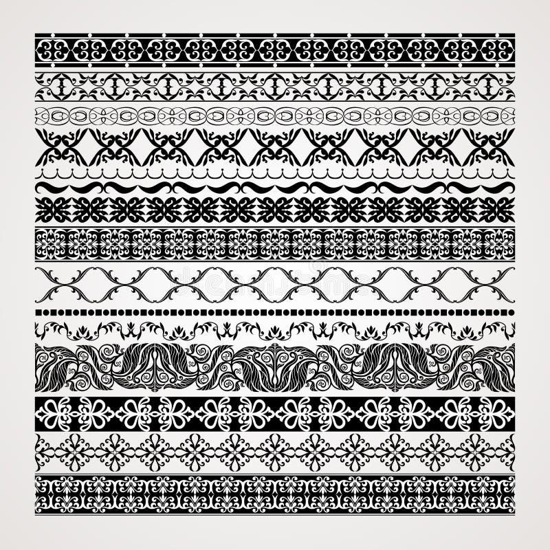 Vintage borders set, seamless lines and creative royalty free illustration