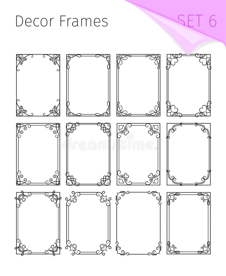 Vintage borders. Vector vintage vignette frames, art nouveau border decorative designs for invitations vector illustration
