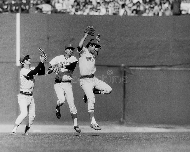 Vintage Boston Red Sox de Lynn, de Yaz y de Burleson imagen de archivo libre de regalías