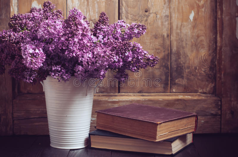 Vintage Bouquet of lilac flowers stock photo