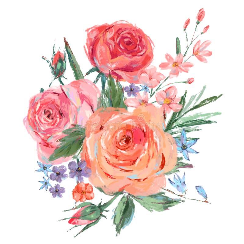 Vintage bouquet of pink roses stock illustration