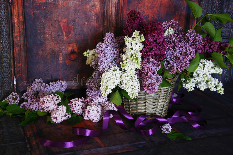 Vintage Bouquet Of Summer Lilac Flowers Stock Photo