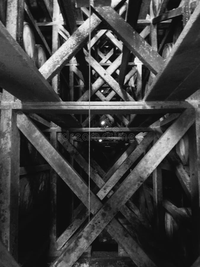 Vintage bourbon barrels in Rickhouse stock photography