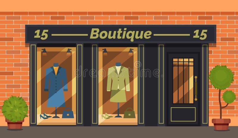 Vintage Boutique-Shop Fassade mit Schaufenster Schaufenster stock abbildung