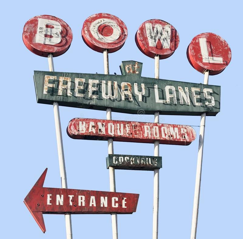 Vintage Bowling Alley Neon Sign royalty free stock image